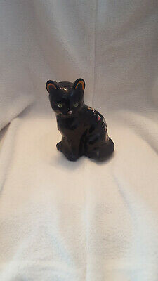 Vintage Fenton Art Glass Ebony Black Cat Kitten Figurine Hand Painted Roses