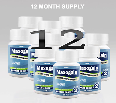 12 Month Maxogain Follicle Boost Tablet 3in1 Mens Hairloss MPB Alopecia Thinning