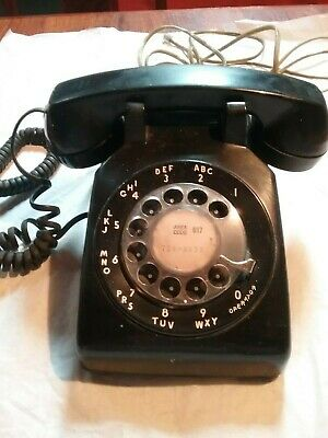 ***Vintage Bell Electric Rotary Telephone--Black--Works--Collectible--L@@K***