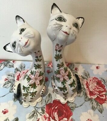 Pair Of Italian pottery smiling cats Long Neck Hand painted Large