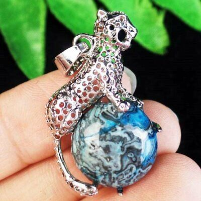 Carved Tibetan Silver Wrapped Blue Crazy Lace Agate Leopard Pendant Bead B43401
