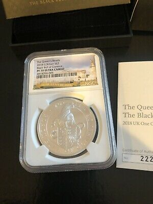 2018 Britain 1 oz Silver Proof Queen's Beasts Black Bull of Clarence NGC PF70