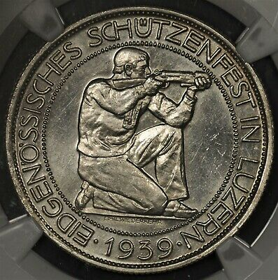 1939-B Ngc Ms63 Switzerland 5 Francs Lucerne Festival Shooting Thaler