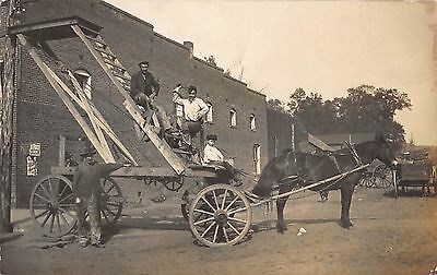 RP Postcard Horse Drawn Wagon w/ Wooden Lift Ladder For Electric Work~107918