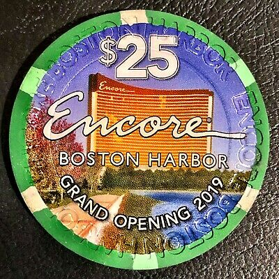 New Rare $25 Encore Boston Harbor Casino Grand Opening Gaming Poker Room Chips