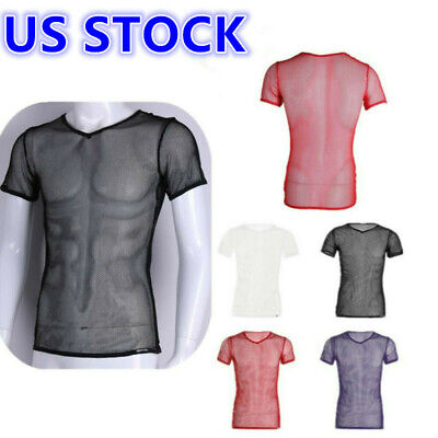 US Sexy Men See Through Mesh Fishnet Short Sleeve T-Shirt Fitted Muscle Tank Top