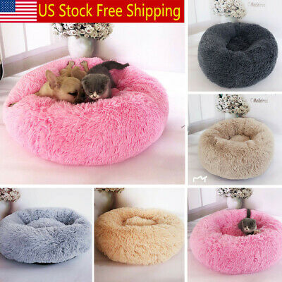 New Pet Dog Cat Calming Bed Warm Soft Plush Round Cute Nest Comfortable Sleeping