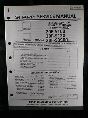 Sharp Service Manual Color Television Sigma 9900 Chassis No. SN-40 Models 20F-S
