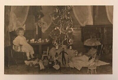 Rare Early 1900s Child w Toys Christmas Advertising ? RPPC Postcard Photograph