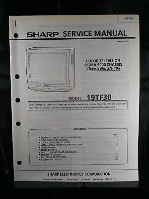 Sharp Service Manual Color Television Sigma 9900 Chassis No. SN-40a Model 19TF30