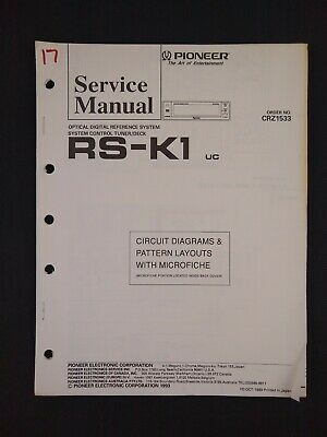 Pioneer Service Manual Circuit Diagrams Microfiche Order No CRZ1533 for RS-K1