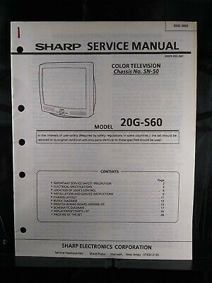 Sharp Service Manual Color Television Chassis No. SN-50 Model 20G-S60