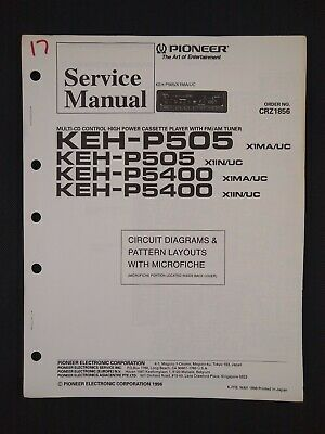 Pioneer Service Manual Circuit Diagrams Microfiche Order No CRZ1856 for KEH-P505
