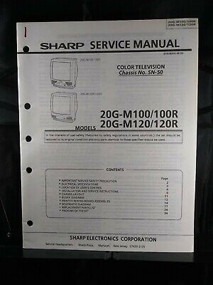 Sharp Service Manual Color Television Chassis No. SN-50 Models 20G-M100 & M120
