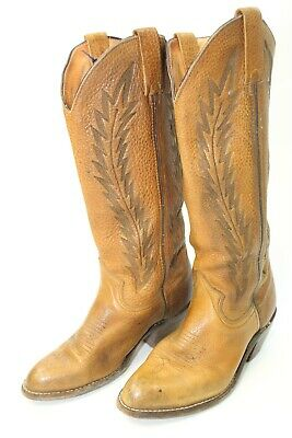 ef051b67fcd Miller Stockman Vintage Womens 7.5 B Leather Heels Pull On Cowboy Boots  K730158