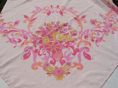 """1970 Vintage Pink Flower Power Tablecloth/Printed Sheer Cotton/54""""x66""""/Hippie"""