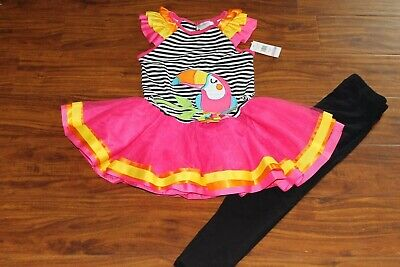 NEW Emily Rose Set colorful girls dress with hot pink tulle & black leggings 6