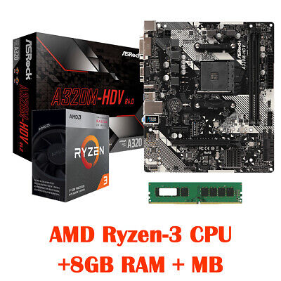 AMD Ryzen-3 3200G 4-Core CPU with built-in Graphics, MB, 8GB RAM for Desktop PC