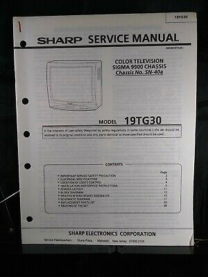 Sharp Color Television Service Manual Sigma 9900 Chassis No SN-40A Model 19TF30