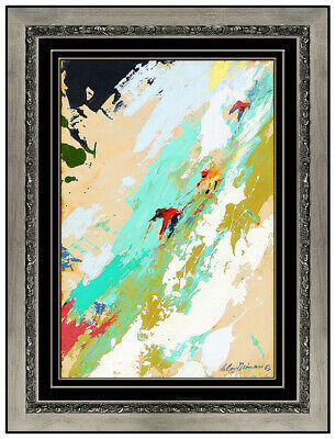 LeRoy Neiman Original Oil Painting on Board Signed Downhill Skiing Sports Art