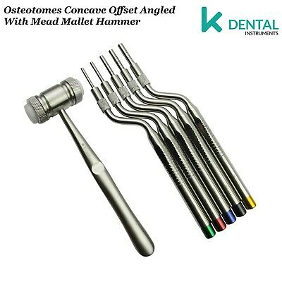 Implantes Osteótomos dental Implantologia SET de concavo angulados y martillos