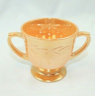 Vintage Fire King Peach Lustre Ware - Laurel Leaf -Open  Sugar Bowl