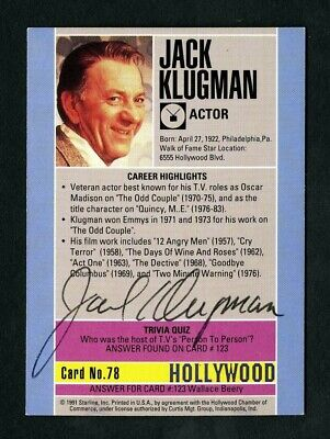JACK KLUGMAN Actor The Odd Couple Quincy Signed Autographed Card - EX+ d. 2012
