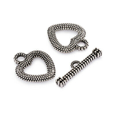 10 Sets Tibetan Alloy Heart Toggle Clasps Textured 1/1 Loop Fastener Silver 21mm