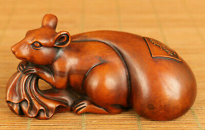 Antiques Chinese old boxwood hand carving fortune mouse statue figure decoration