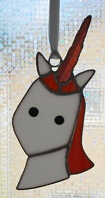 Hand Made Stained Glass Copper Foil Unicorn Suncatcher