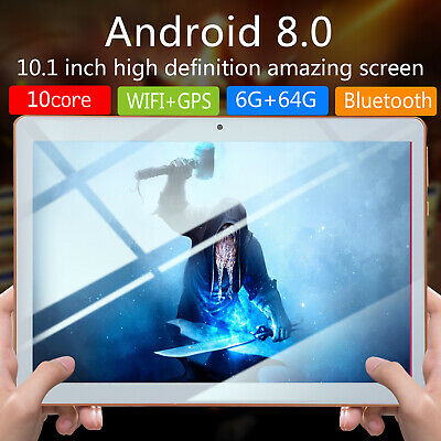 "10.1"" Inch Tablet PC HD Android 8.0 64GB Ten-Core Google WIFI Dual Camera GPS UK"