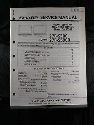 Sharp Service Manual Color Television Sigma 9900 Chassis No SN-43 Model 27F-S300
