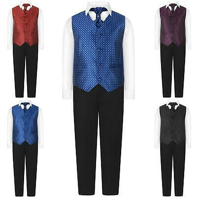 Page Boys 4 Piece Waistcoat Suit Regular Fit Formal Suits Wedding Prom Age 0-15Y