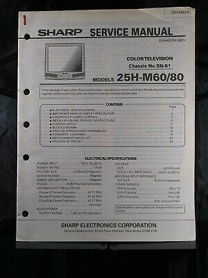 Sharp Service Manual Color Television Model Chassis No. SN-61 Models 25H-M60/80