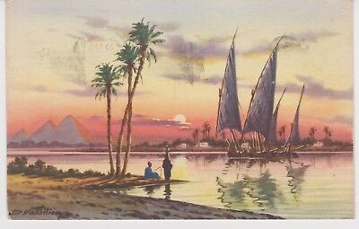 "EGYPTE  - ""Nile Boats at Sunset"""