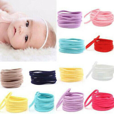 10Pcs Kids Baby Girls Elastic Headband Nylon Headwear Hairband Women Headdress A
