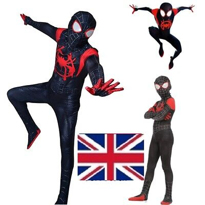 Spider Man Into Spider Verse Costume Kids Miles Morales Cosplay Suit Outfits