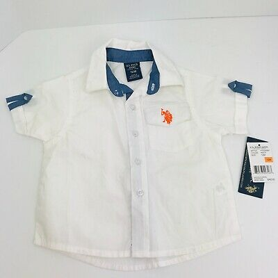 Boys US Polo ASSN White Short Sleeve Button Up Shirt  Size 12 Months MSRP 42.00