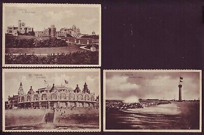 Lot Of 3 Different Views Ostende Belgium Old Postcards (L002)