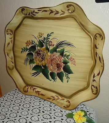Huge & Stunning Mid Century Unique Hand Painted Chic Tole Tray, Shabby Floral