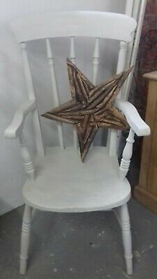 Painted Antique Beech An Elm Carver Grandfather Slat Back Chair Shabby Chic