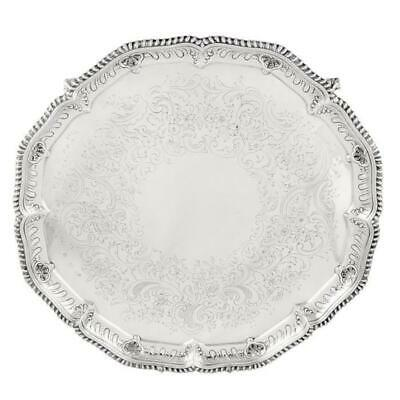 "HEAVY ANTIQUE VICTORIAN STERLING SILVER 15 1/2"" TRAY/SALVER - 1894 - 1890g"