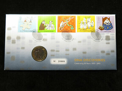 Royal Mint Coin Cover : DNA Double Helix £2 Coin 2003