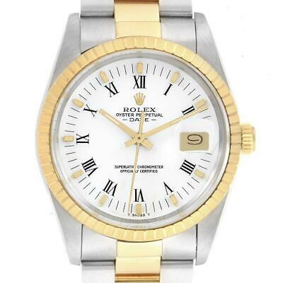 Rolex Date Steel 18k Yellow Gold White Dial Mens Watch 15053