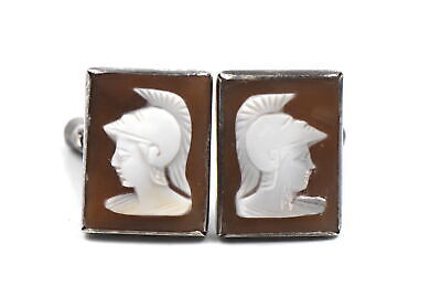 Antique Victorian Greek God Hermes Cameo Cufflinks Hand Carved Shell 900 Silver