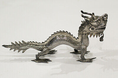 Chinese Export Silver Dragon Figure Menu Holder / Place Name Holder - Signed
