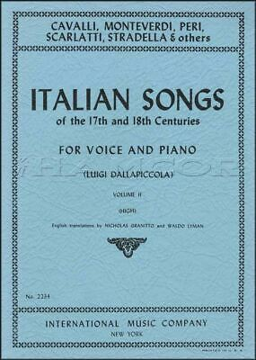 Italian Songs of the 17th and 18th Centuries 2 High Voice SAME DAY DISPATCH