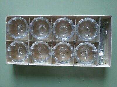 "Vtg 8 Crystal Round Paneled Ribbed 1½"" Open Salt Cellars W/*Spoons Nib"