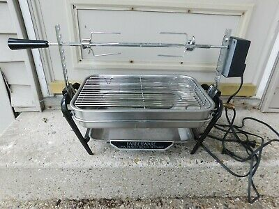 Very Nice Farberware Electric Open Hearth Broiler Rotisserie W/Skewers