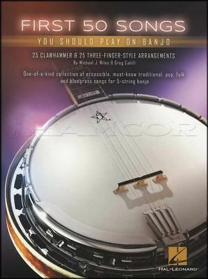 First 50 Songs You Should Play on Banjo TAB Book 5-String Clawhammer 3 Finger